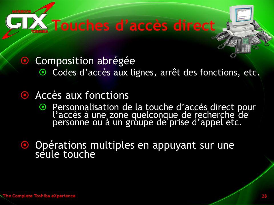 Touches d'accès direct