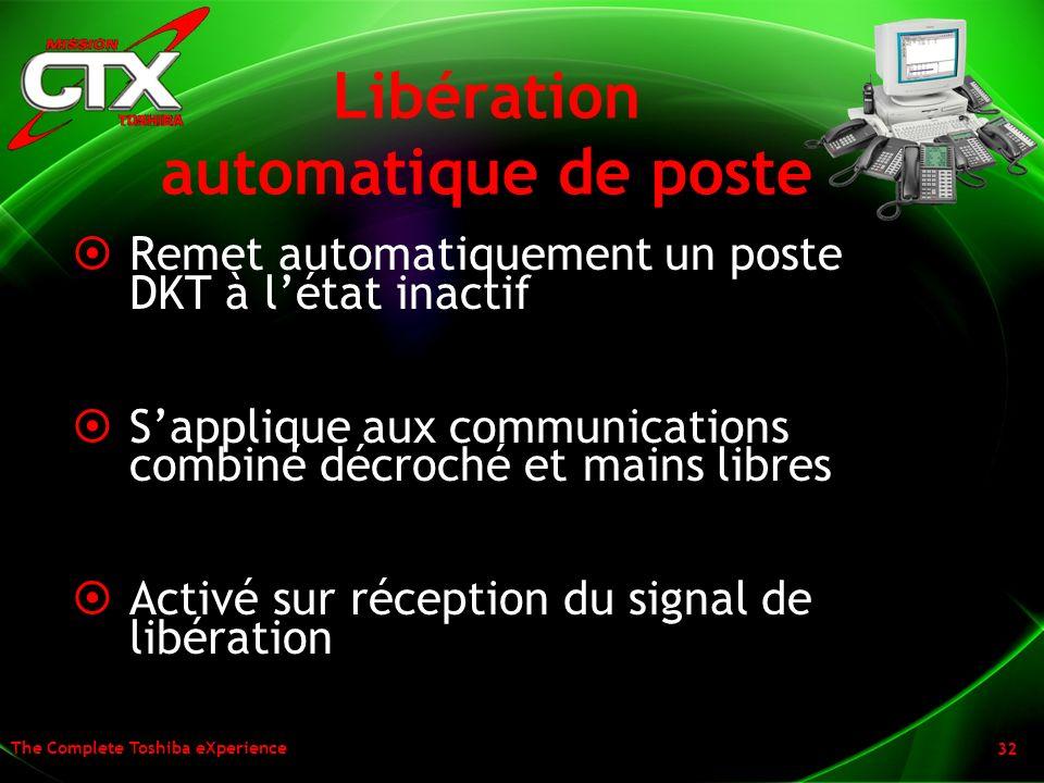 Libération automatique de poste