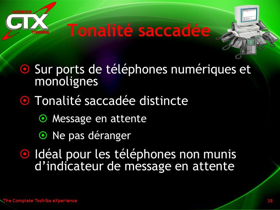 Tonalité saccadée Sur ports de téléphones numériques et monolignes