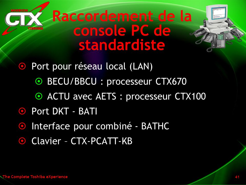 Raccordement de la console PC de standardiste