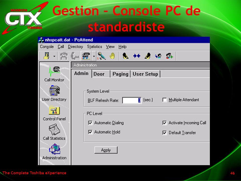 Gestion – Console PC de standardiste