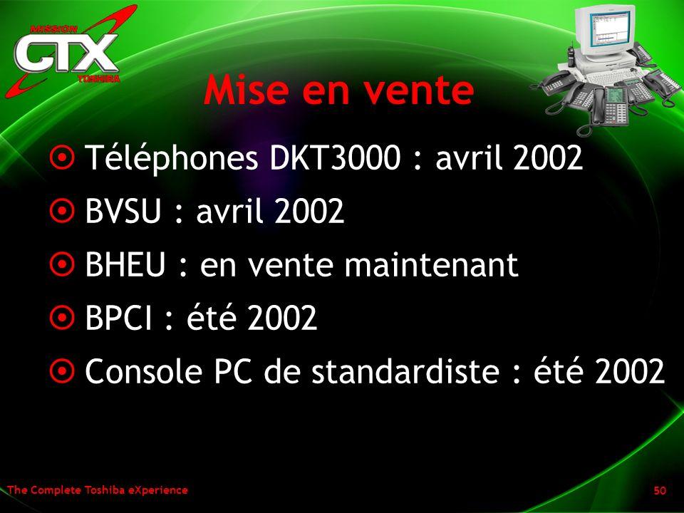 Mise en vente Téléphones DKT3000 : avril 2002 BVSU : avril 2002