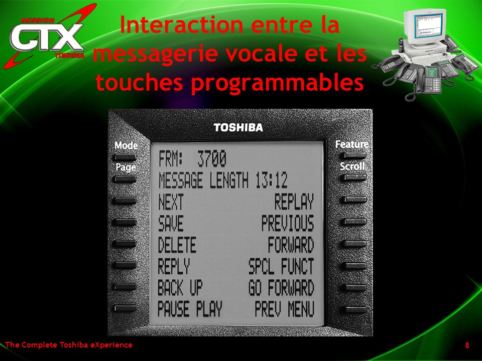 Interaction entre la messagerie vocale et les touches programmables