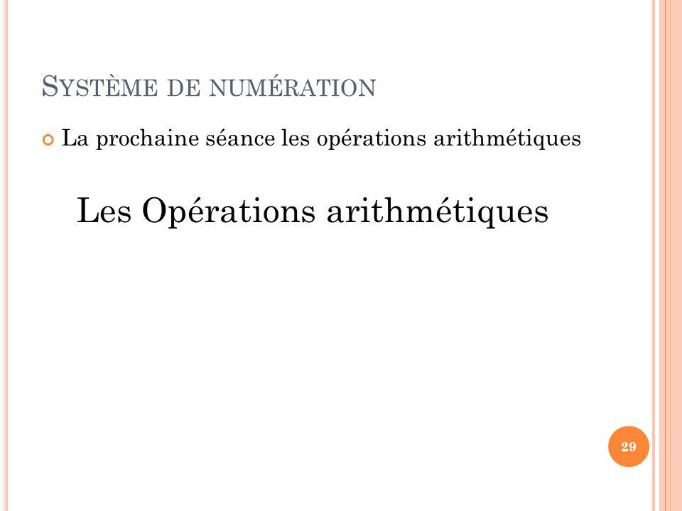 Les Opérations arithmétiques