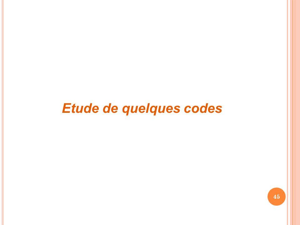 Etude de quelques codes