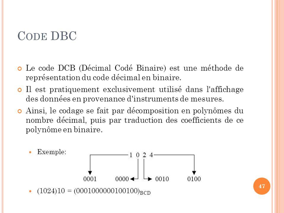 Code DBC Le code DCB (Décimal Codé Binaire) est une méthode de représentation du code décimal en binaire.