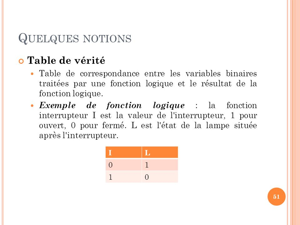 Quelques notions Table de vérité