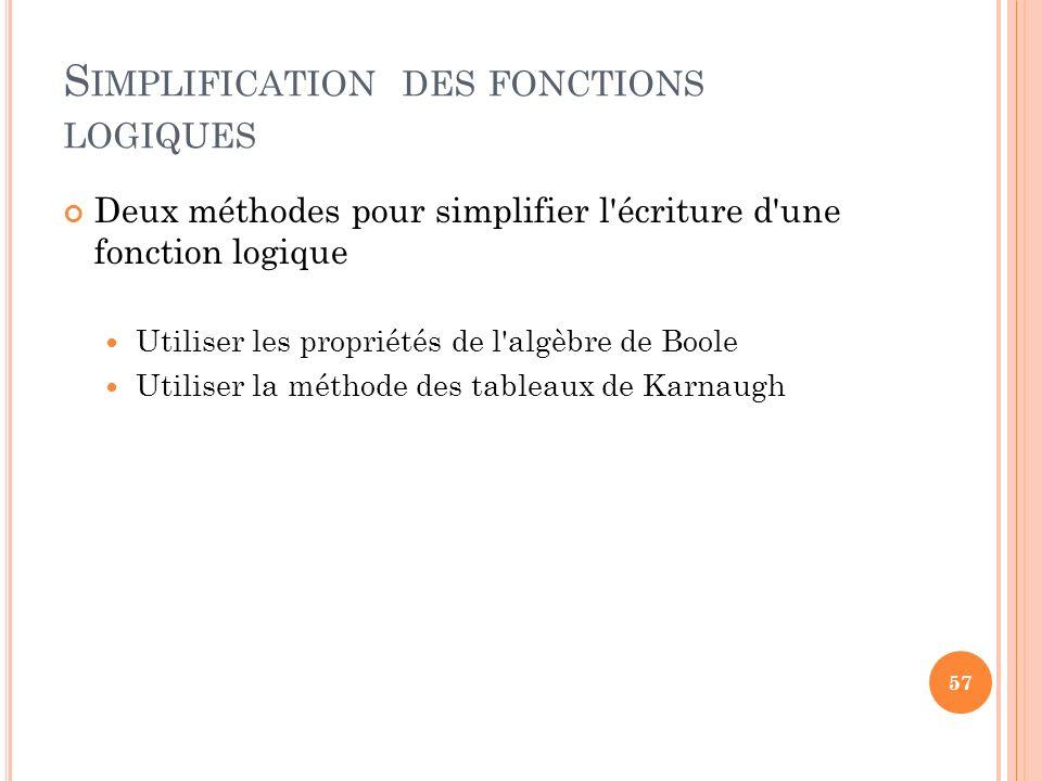Simplification des fonctions logiques