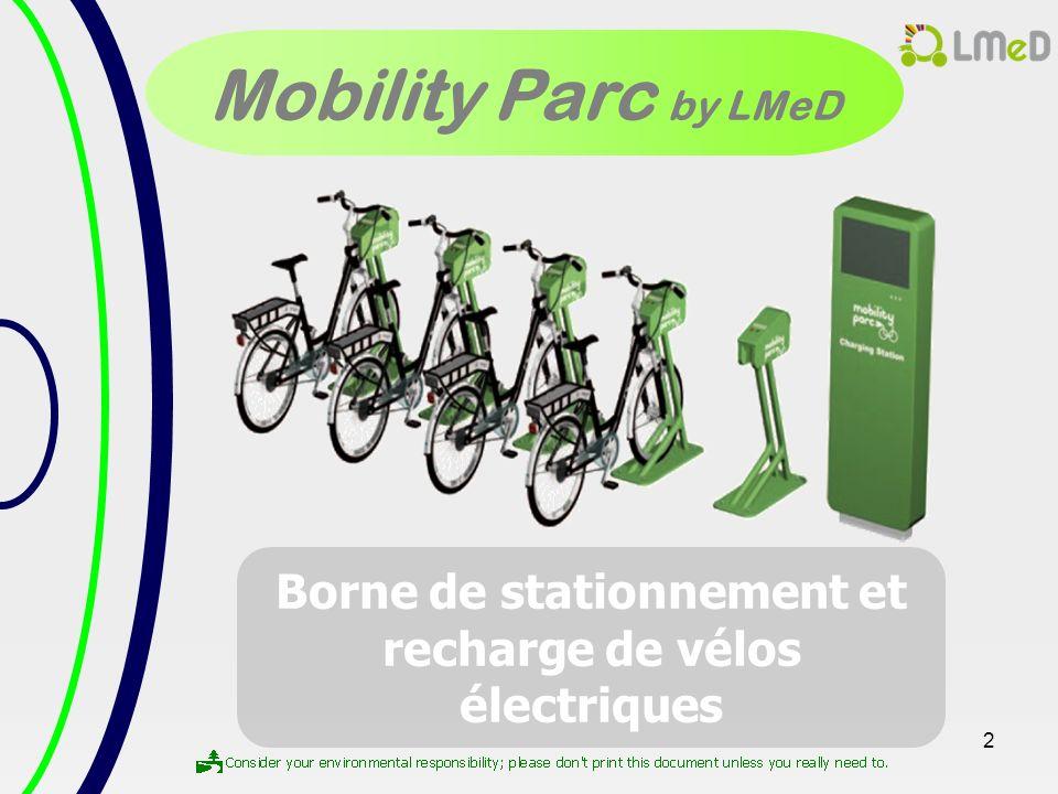 Borne de stationnement et recharge de vélos électriques