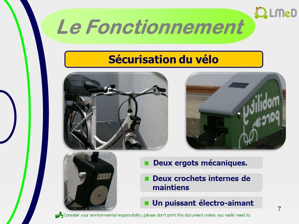 Le Fonctionnement Sécurisation du vélo Deux ergots mécaniques.