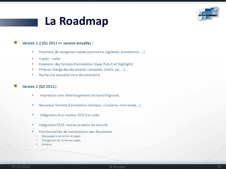 La Roadmap Version 1.2 (Q1 2011 => version actuelle) :