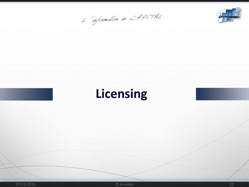 Licensing 25/03/2017 © Arondor
