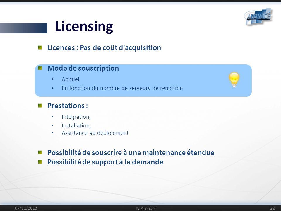 Licensing Licences : Pas de coût d acquisition Mode de souscription
