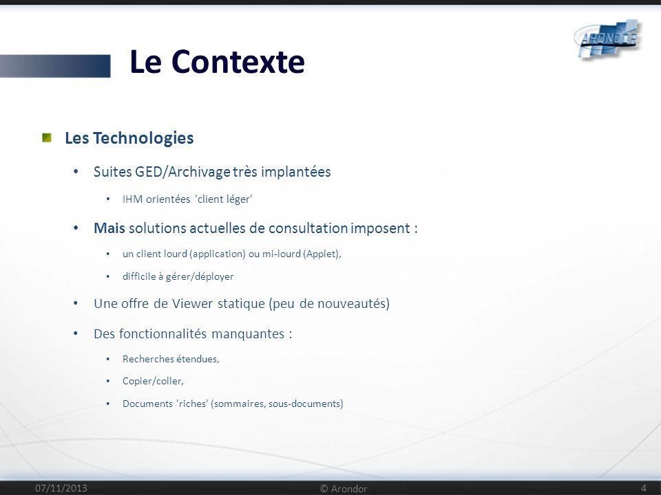Le Contexte Les Technologies Suites GED/Archivage très implantées