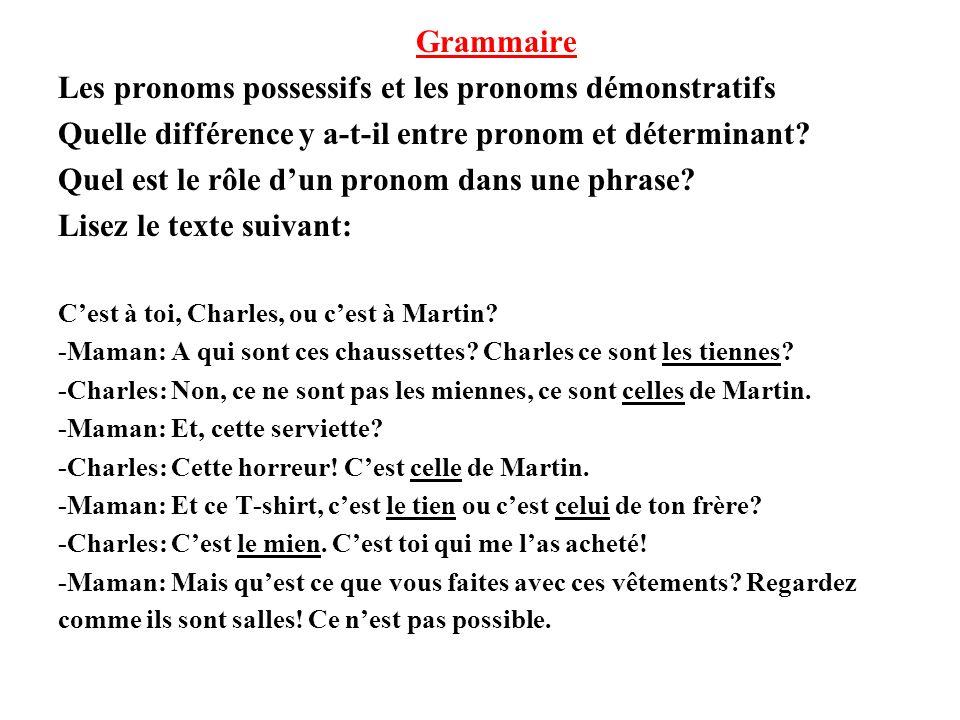 Les pronoms possessifs et les pronoms démonstratifs