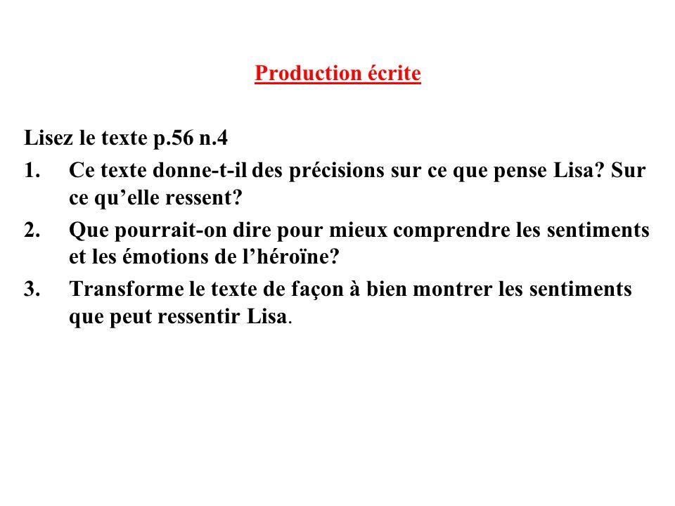 Production écrite Lisez le texte p.56 n.4. Ce texte donne-t-il des précisions sur ce que pense Lisa Sur ce qu'elle ressent