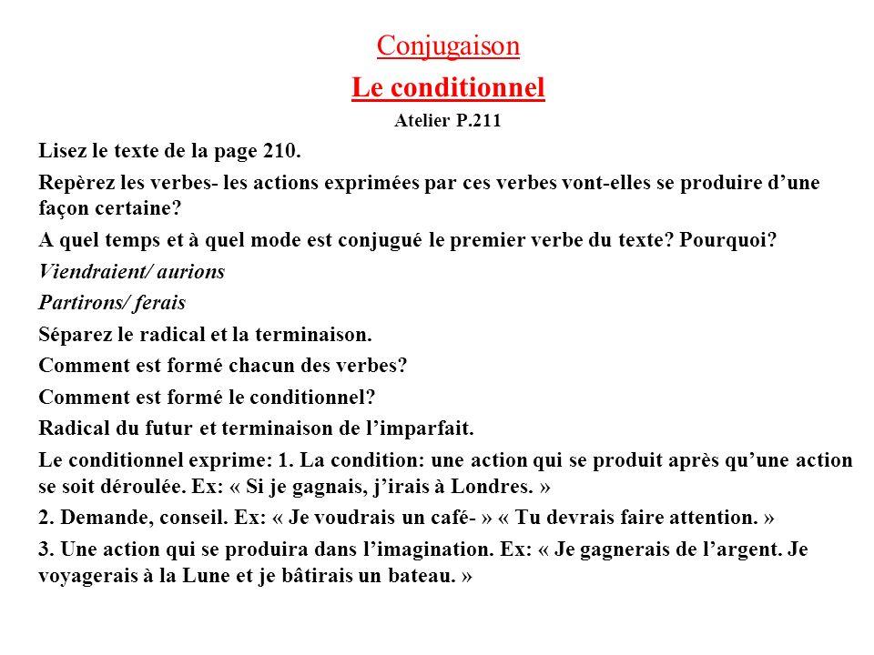 Conjugaison Le conditionnel Lisez le texte de la page 210.