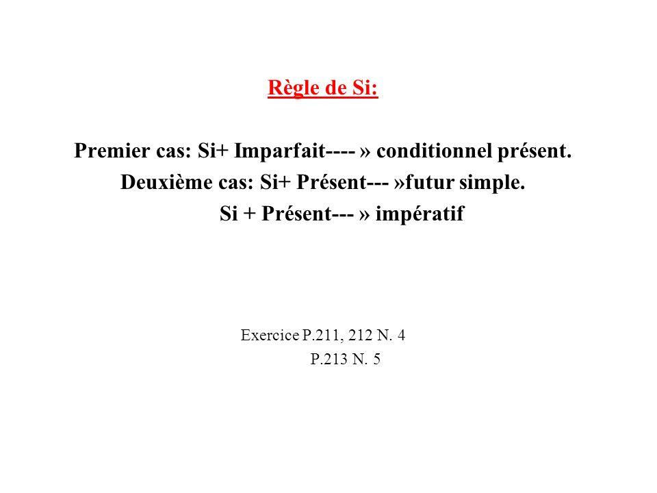 Premier cas: Si+ Imparfait---- » conditionnel présent.