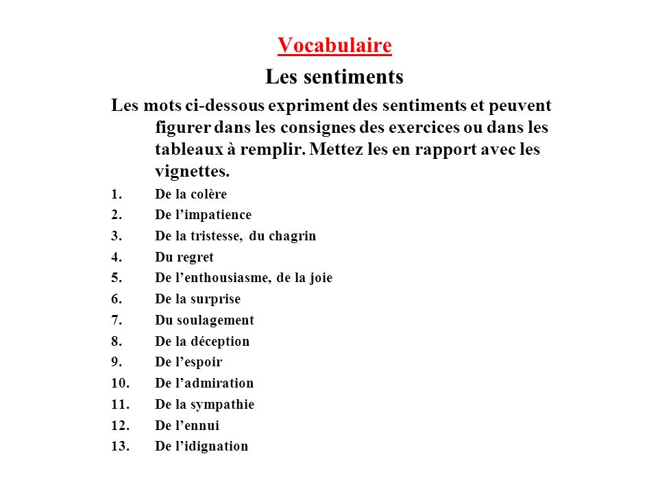 Vocabulaire Les sentiments