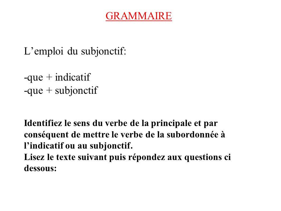 GRAMMAIRE L'emploi du subjonctif: -que + indicatif -que + subjonctif Identifiez le sens du verbe de la principale et par conséquent de mettre le verbe de la subordonnée à l'indicatif ou au subjonctif.