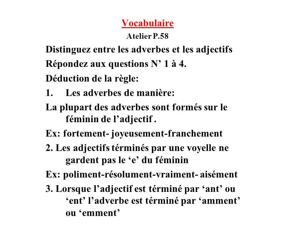 Distinguez entre les adverbes et les adjectifs