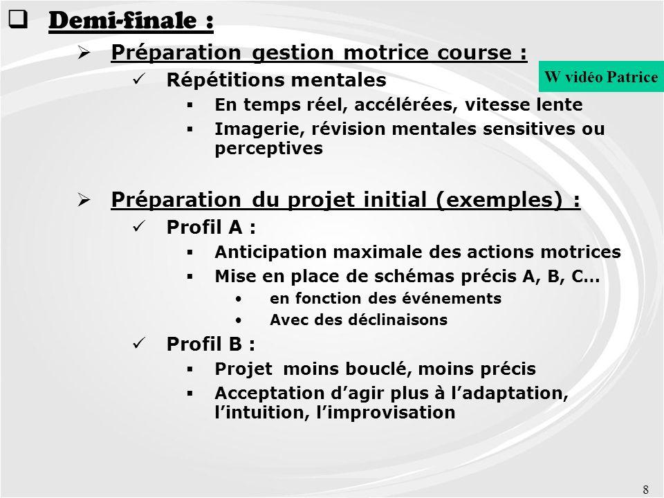 Demi-finale : Préparation gestion motrice course :