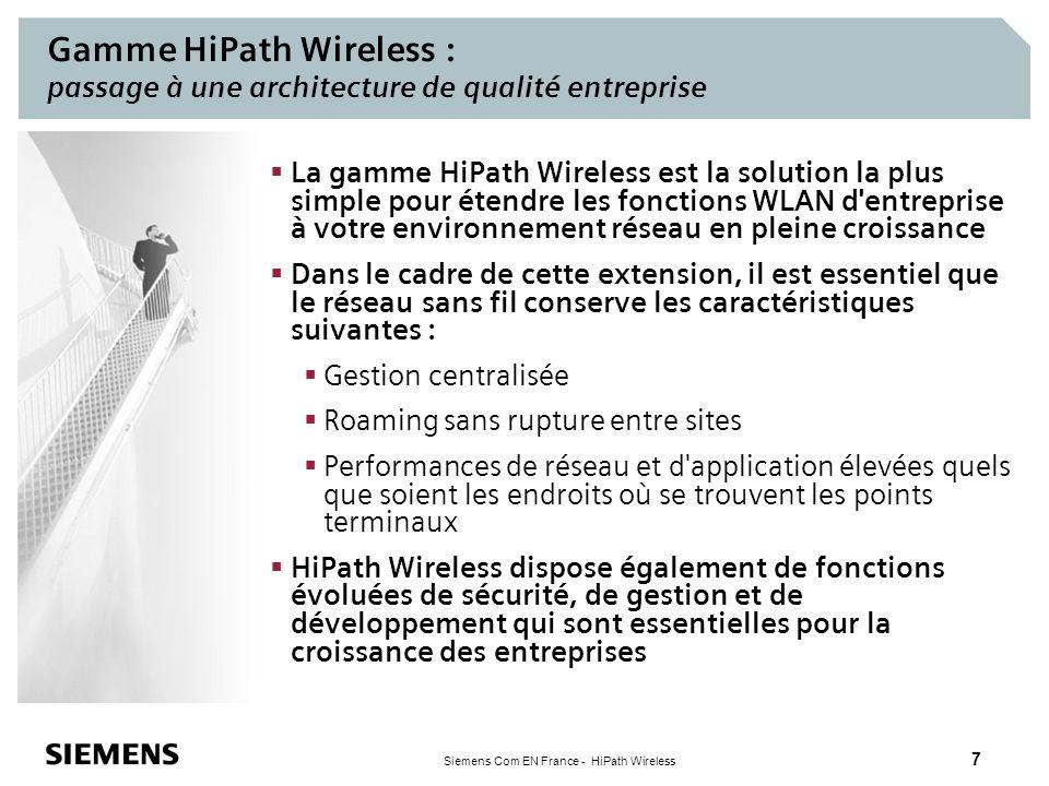 Gamme HiPath Wireless : passage à une architecture de qualité entreprise