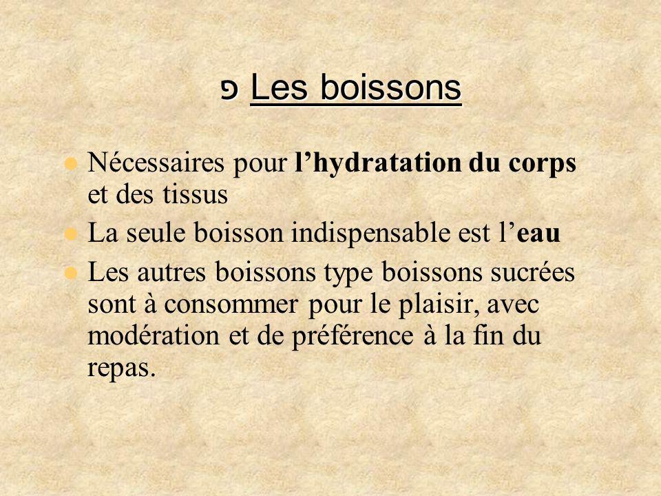 פ Les boissons Nécessaires pour l'hydratation du corps et des tissus