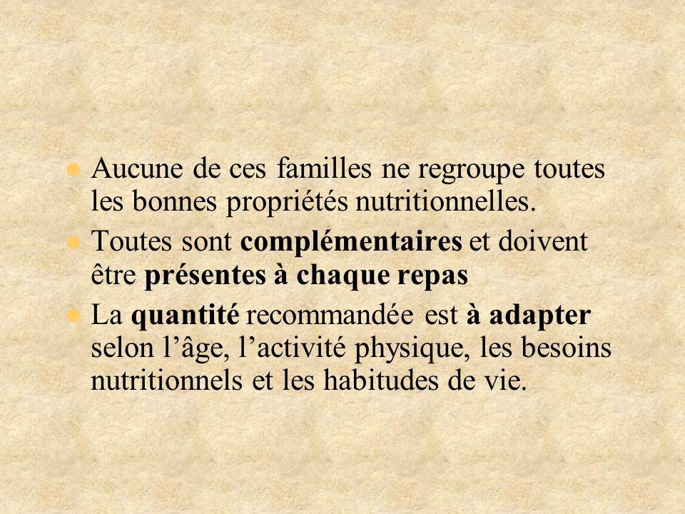 Aucune de ces familles ne regroupe toutes les bonnes propriétés nutritionnelles.