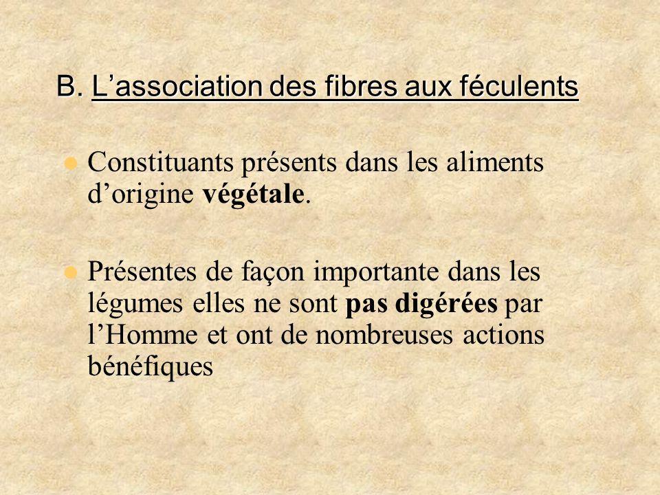 B. L'association des fibres aux féculents