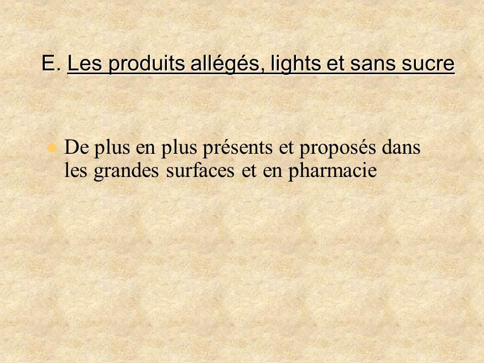 E. Les produits allégés, lights et sans sucre