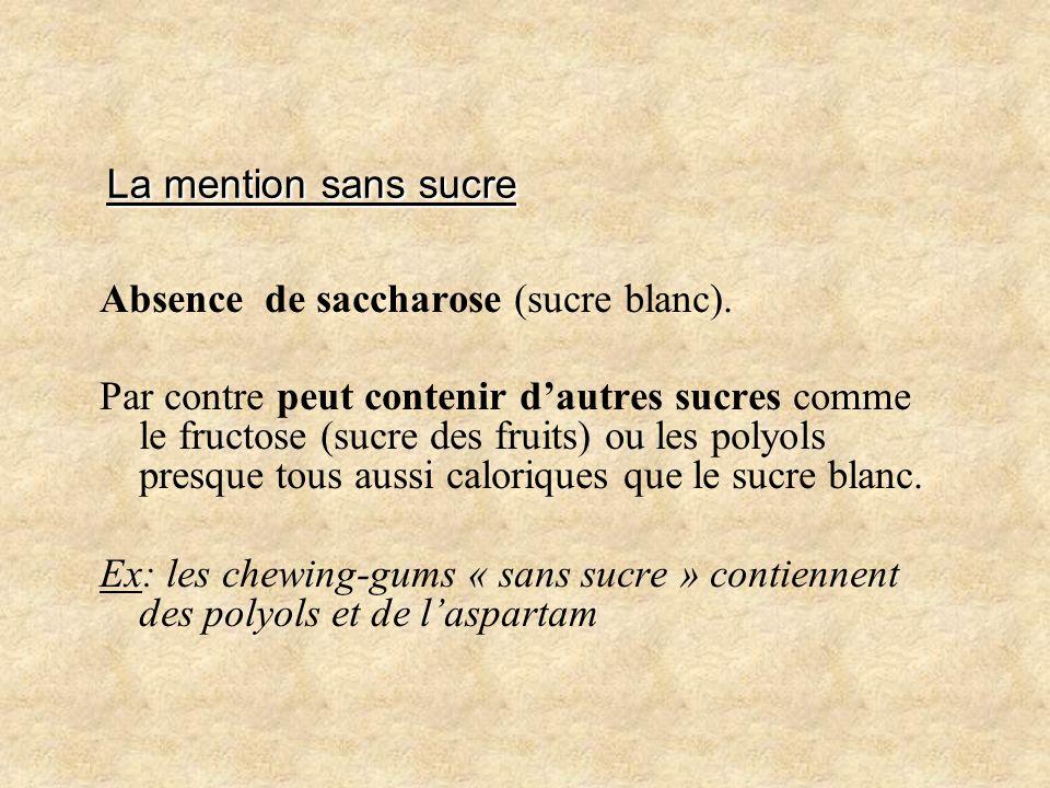 La mention sans sucre Absence de saccharose (sucre blanc).