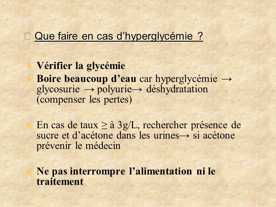 メ Que faire en cas d'hyperglycémie