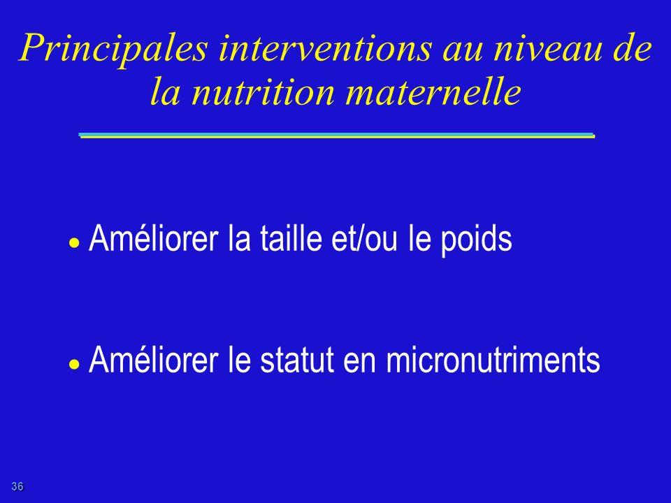 Principales interventions au niveau de la nutrition maternelle