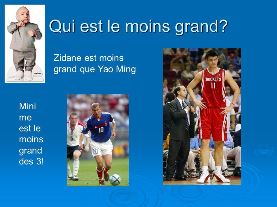 Qui est le moins grand Zidane est moins grand que Yao Ming