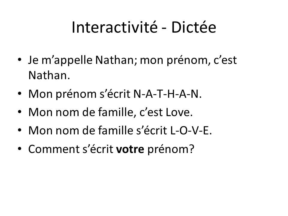 Interactivité - Dictée