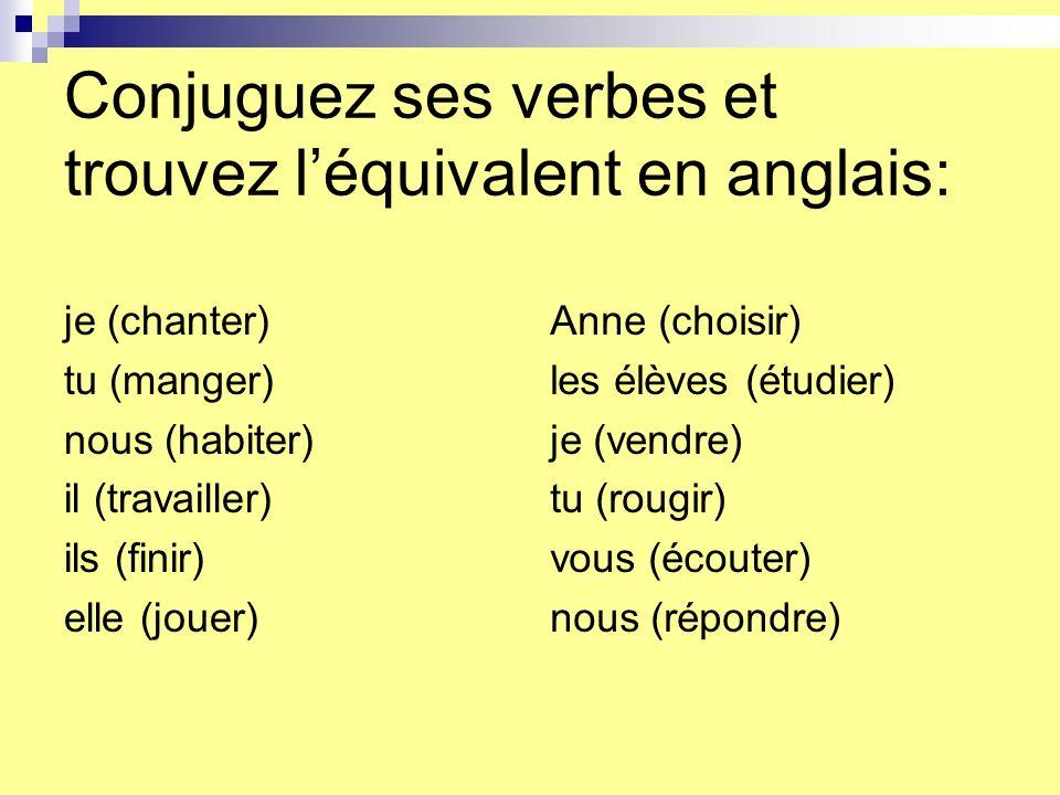 Conjuguez ses verbes et trouvez l'équivalent en anglais:
