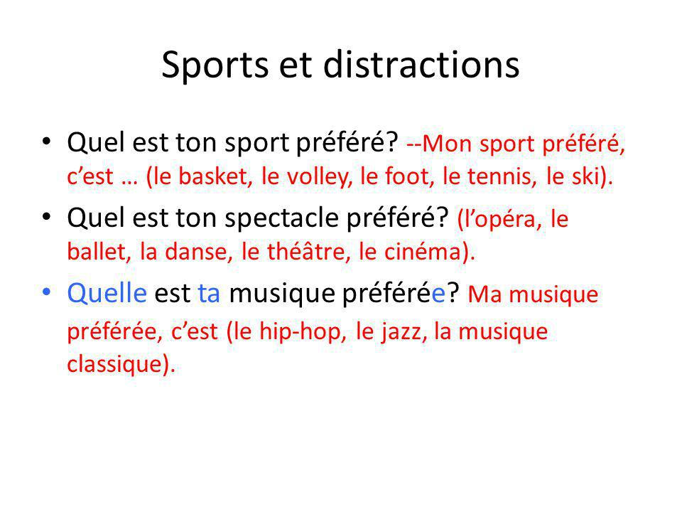 Sports et distractions