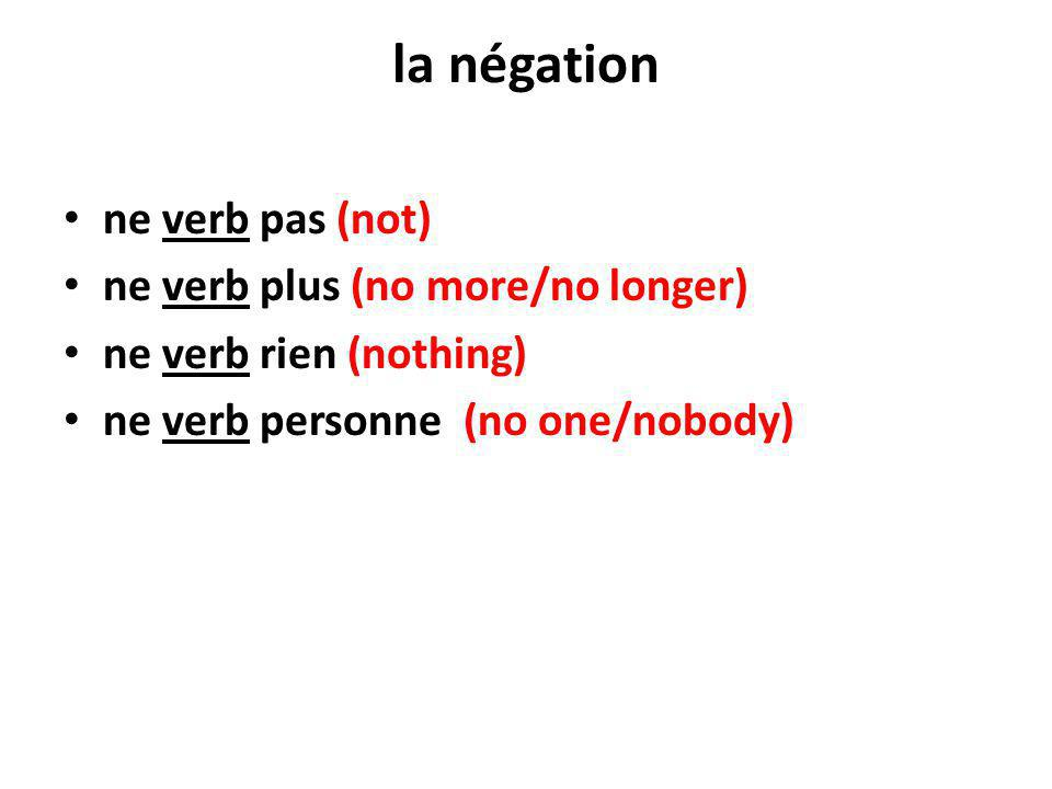 la négation ne verb pas (not) ne verb plus (no more/no longer)