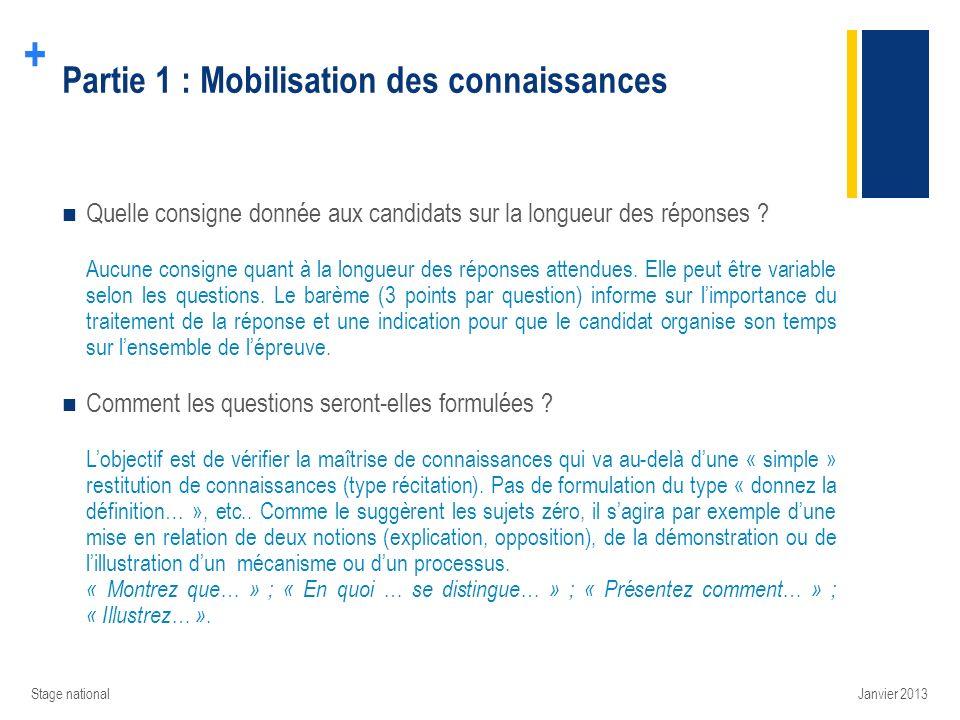 Partie 1 : Mobilisation des connaissances