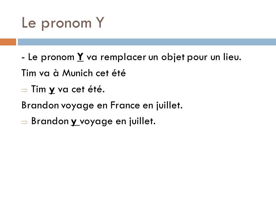 Le pronom Y - Le pronom Y va remplacer un objet pour un lieu.