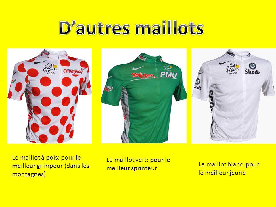 D'autres maillots Le maillot à pois: pour le meilleur grimpeur (dans les montagnes) Le maillot vert: pour le meilleur sprinteur.