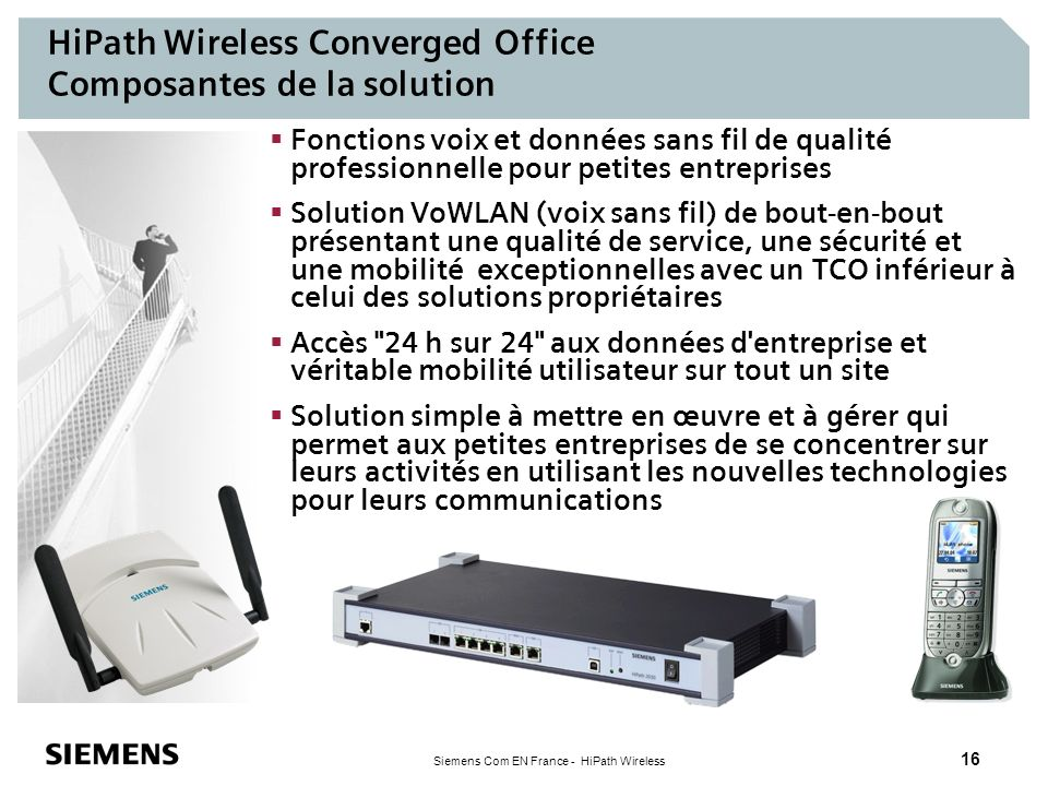 HiPath Wireless Converged Office Composantes de la solution