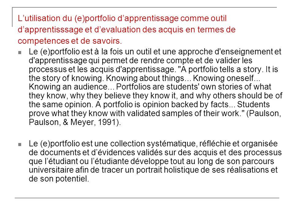 L'utilisation du (e)portfolio d'apprentissage comme outil
