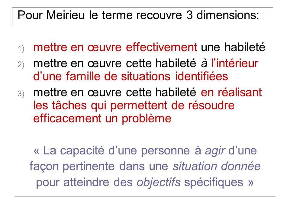 Pour Meirieu le terme recouvre 3 dimensions:
