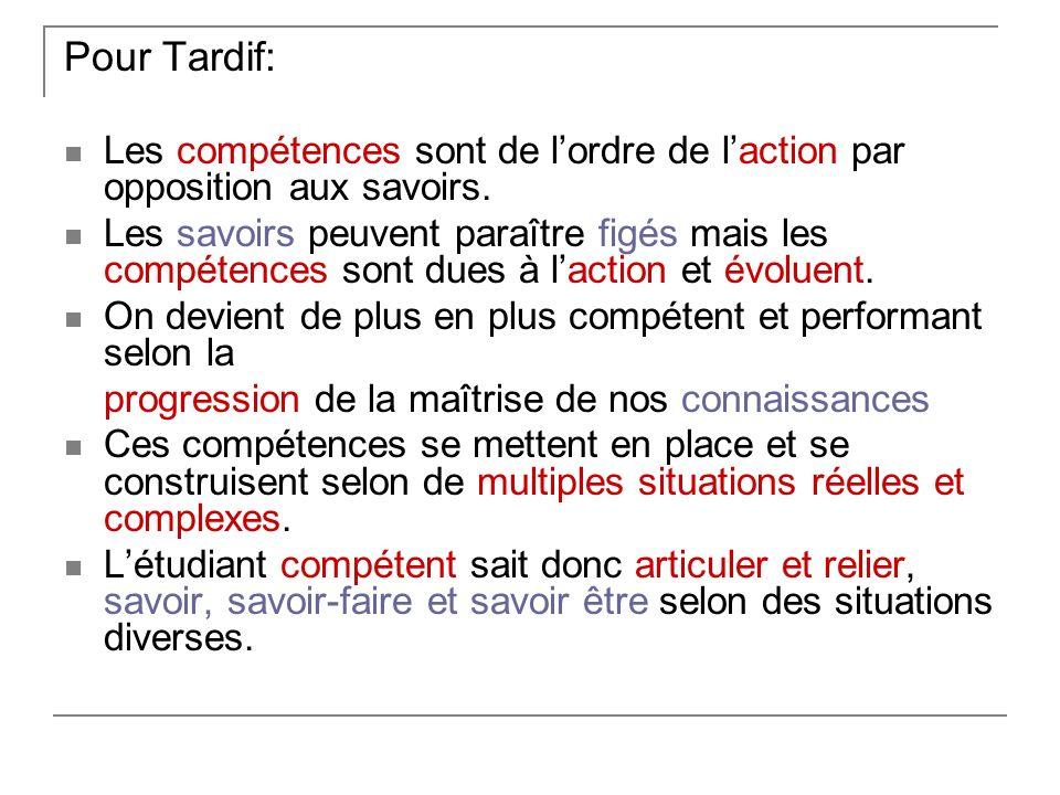 Pour Tardif: Les compétences sont de l'ordre de l'action par opposition aux savoirs.