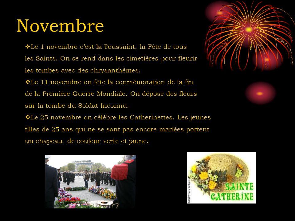 Novembre Le 1 novembre c'est la Toussaint, la Fête de tous