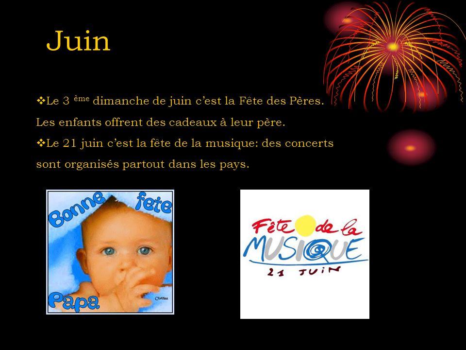 Juin Le 3 ème dimanche de juin c'est la Fête des Pères.