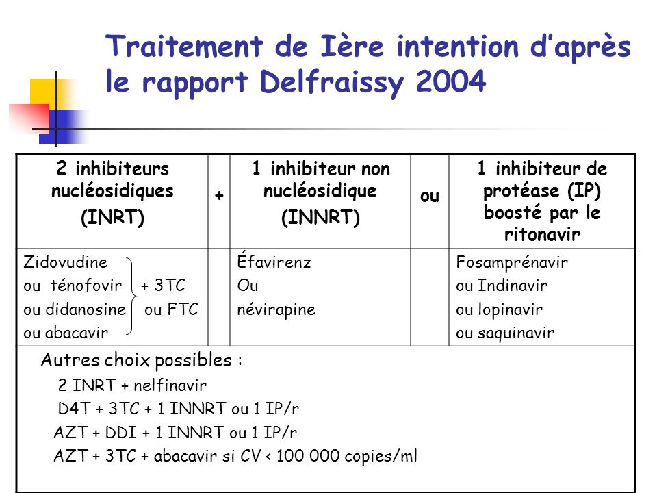 Traitement de Ière intention d'après le rapport Delfraissy 2004
