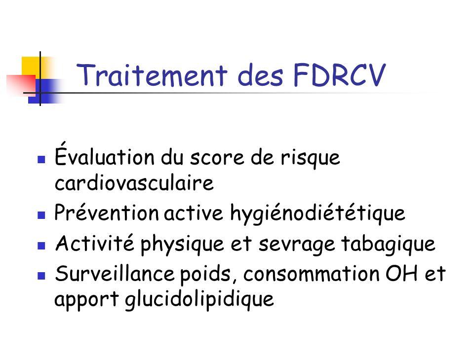 Traitement des FDRCV Évaluation du score de risque cardiovasculaire
